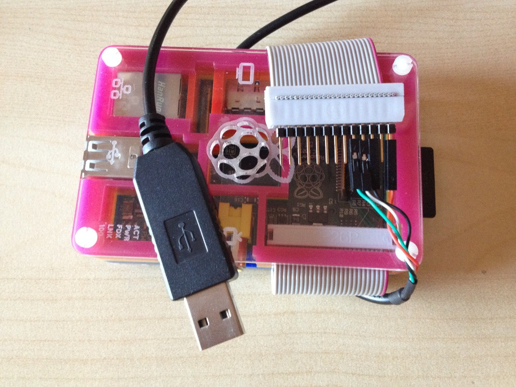 Raspberry Pi 1 with a USB-TTL cable used for serial console